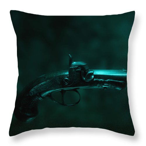 Gun; Firearm; Revolver; Single; Wood; Old; Vintage; Eerie; Foreboding; Sinister; Still Life; Conceptual; Handgun; Pistol Mystery; Weapon; Barrel; Trigger; Ornate; Derringer; Floating; Blue; Green; Color; Colour; Murder; Protection; Metal; Derringer Throw Pillow featuring the photograph Derringer by Margie Hurwich