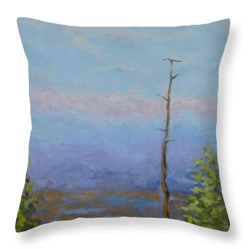 Winter Throw Pillow featuring the painting Descending Hike II by Alicia Drakiotes