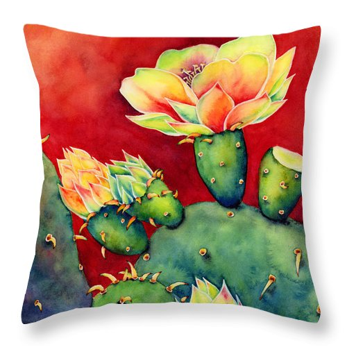 Cactus Throw Pillow featuring the painting Desert Bloom by Hailey E Herrera