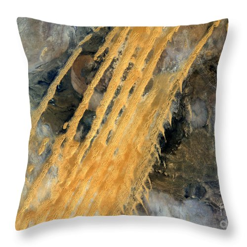 Satellite Image; Map; Environment; Desert; Sand; Rock; Dune; Africa; Maghreb; Algeria Throw Pillow featuring the photograph Desert Erg Iguidi Algeria by Anonymous