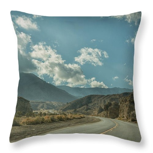 Highway Throw Pillow featuring the photograph Desert Highway by Will D'angelo