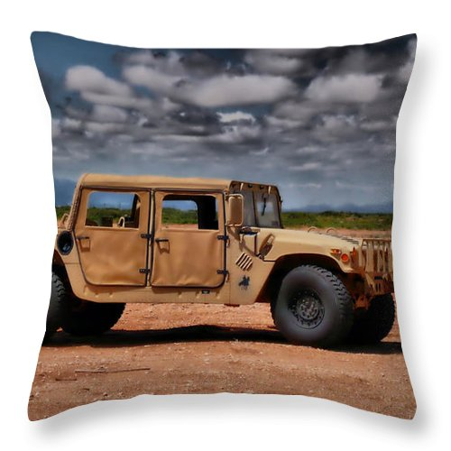 Humvee Throw Pillow featuring the photograph Desert Humvee by Thomas MacPherson Jr