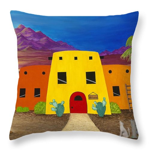 Whimsicle Desert Inn Has Vacancy Throw Pillow featuring the painting Desert Oasis by Carol Sabo