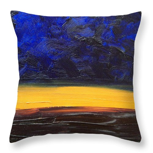 Landscape Throw Pillow featuring the painting Desert plains by Sergey Bezhinets