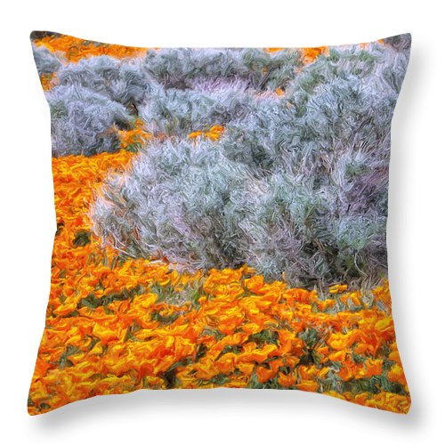California Poppies Throw Pillow featuring the painting Desert Poppies And Sage by Dominic Piperata