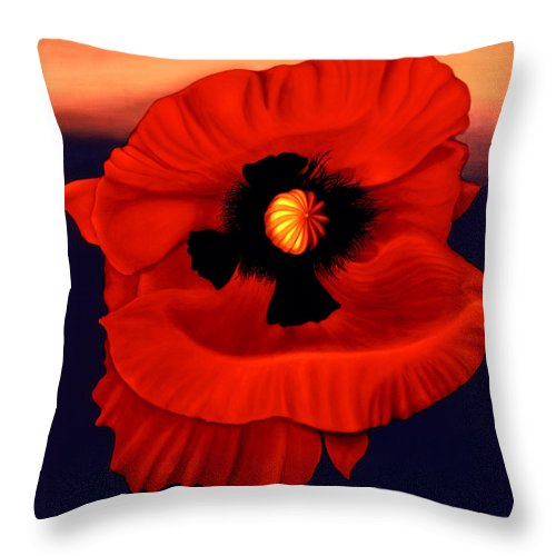 Flower Prints Throw Pillow featuring the painting Desert Poppy by Anni Adkins