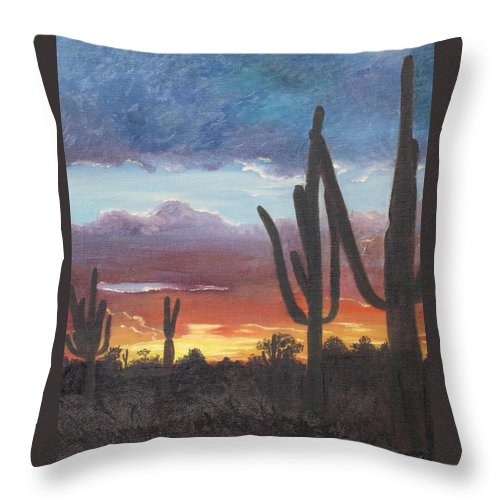 painted Desert Throw Pillow featuring the painting Desert Silhouette by Barbara McDevitt