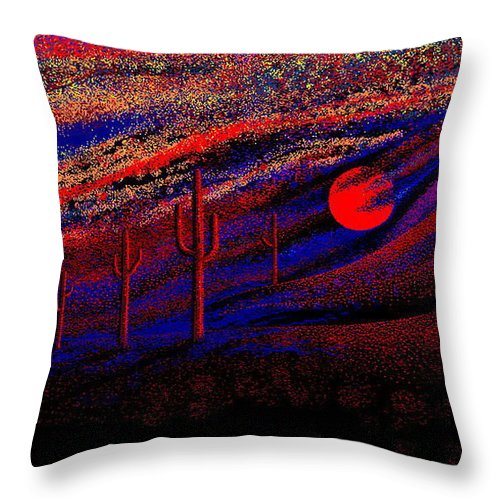Desert Sunset Quickly Sketched In Four And Half Hours.... Throw Pillow featuring the digital art Desert Sunset by Larry Lehman