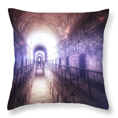 Gate Throw Pillow featuring the photograph Deserted Prison Hallway by Jill Battaglia