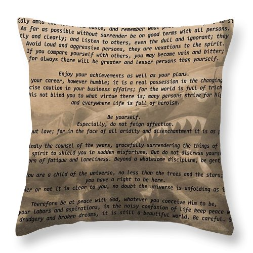Desiderata Airplane Throw Pillow featuring the mixed media Desiderata Military by Dan Sproul