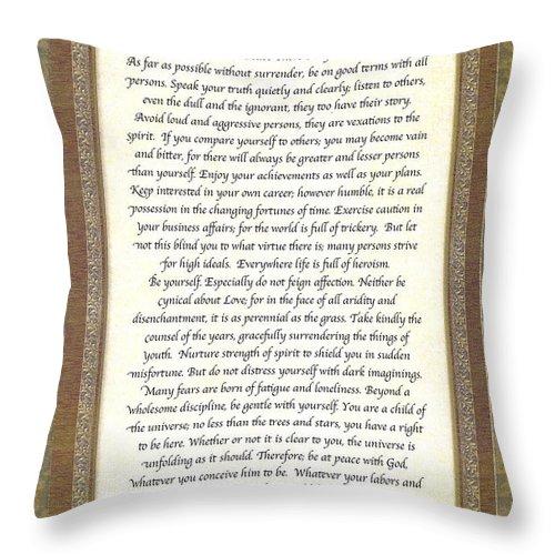 Desiderata Throw Pillow featuring the mixed media Desiderata Poem By Max Ehrmann by Desiderata Gallery