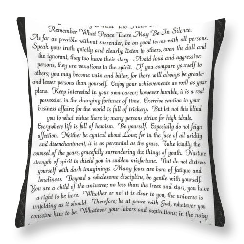Desiderata Throw Pillow featuring the mixed media Desiderata Poster by Desiderata Gallery