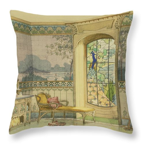 Art Nouveau Throw Pillow featuring the drawing Design For A Bathroom, From Interieurs by Georges Remon