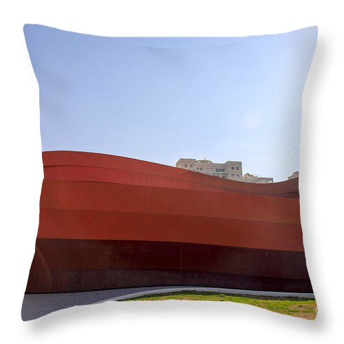 Abstract Throw Pillow featuring the photograph Design Museum Holon by Vladi Alon