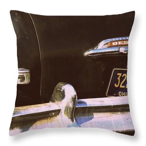 Car Throw Pillow featuring the photograph Desoto Trunk by Kathy Barney