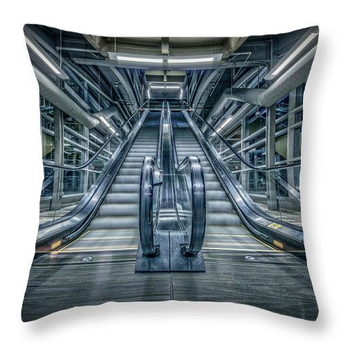 Escalator Throw Pillow featuring the photograph Destiny by Everet Regal