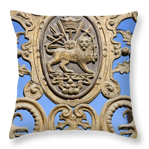Iran Throw Pillow featuring the photograph Detail Of The Bagh E Melli Gate In Tehran Iran by Robert Preston