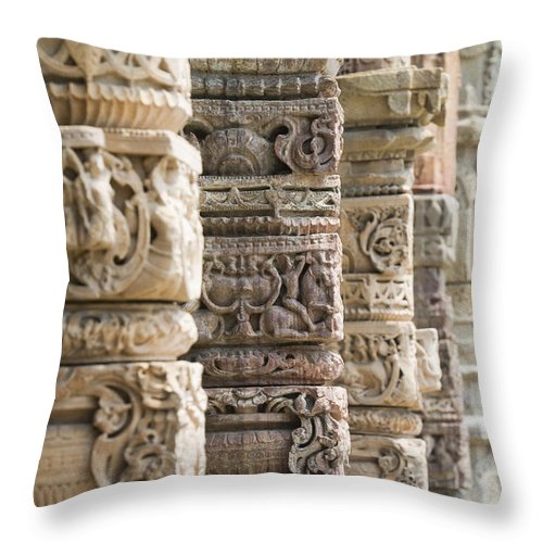 Asian Throw Pillow featuring the photograph Details Of The Columns In The Qutab by James Sparshatt