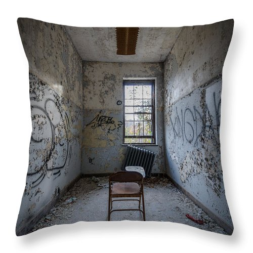 Urbex Throw Pillow featuring the photograph Detention Room by Michael Ver Sprill