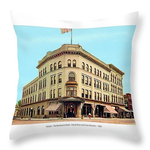 Detroit Throw Pillow featuring the digital art Detroit - The Cadillac Hotel - Cadillac Boulevard And Michigan Avenue - 1918 by John Madison