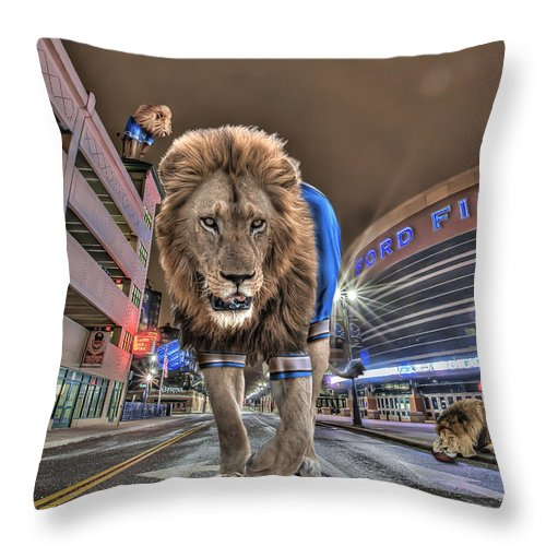Comerica Park Throw Pillow featuring the photograph Detroit Lions At Ford Field by Nicholas Grunas