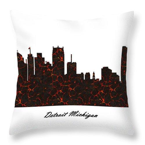 Fine Art Throw Pillow featuring the digital art Detroit Michigan Molten Lava Skyline by Gregory Murray