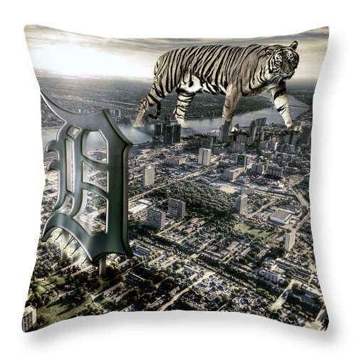Giant Tiger Throw Pillow featuring the photograph Detroit by Nicholas Grunas