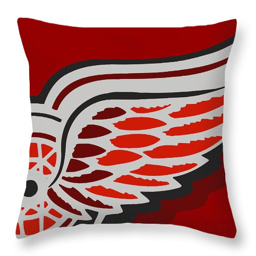Detroit Throw Pillow featuring the painting Detroit Red Wings by Tony Rubino