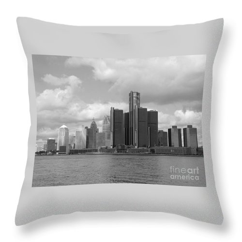 Detroit Throw Pillow featuring the photograph Detroit Skyscape by Ann Horn