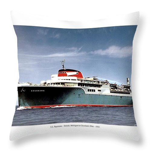 Detroit Throw Pillow featuring the digital art Detroit - The Ss Aquarama - Detroit To Cleveland - 1955 by John Madison