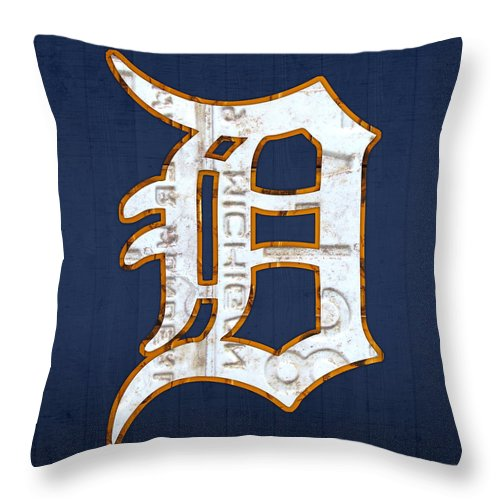 Detroit Tigers Baseball Old English D Logo License Plate Art Sports Michigan License Plate Map Throw Pillow featuring the mixed media Detroit Tigers Baseball Old English D Logo License Plate Art by Design Turnpike