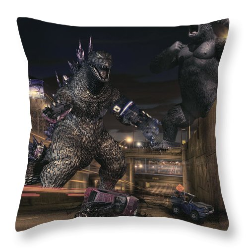 King Kong Throw Pillow featuring the photograph Detroits Zoo by Nicholas Grunas