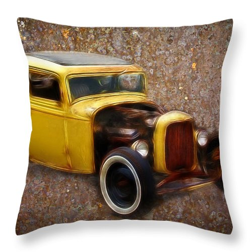 32 Ford Throw Pillow featuring the photograph Deuce Coupe On Rust by Steve McKinzie