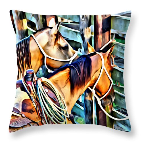 Horses Throw Pillow featuring the photograph Deuce On Call Two by Alice Gipson