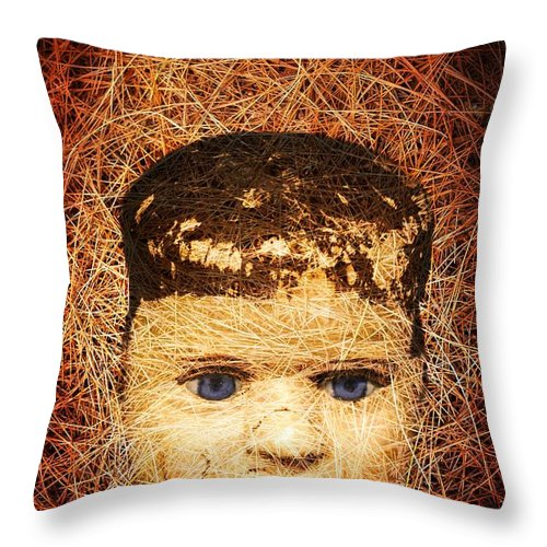 Scary Throw Pillow featuring the photograph Devil Child by Edward Fielding