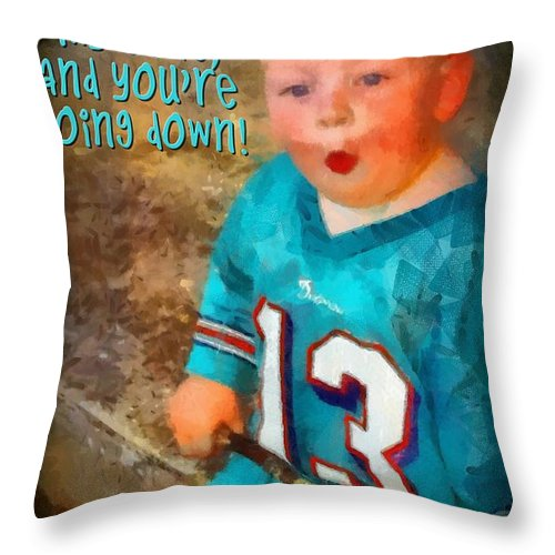 Jesus Throw Pillow featuring the digital art Devil Youre Going Down by Michelle Greene Wheeler