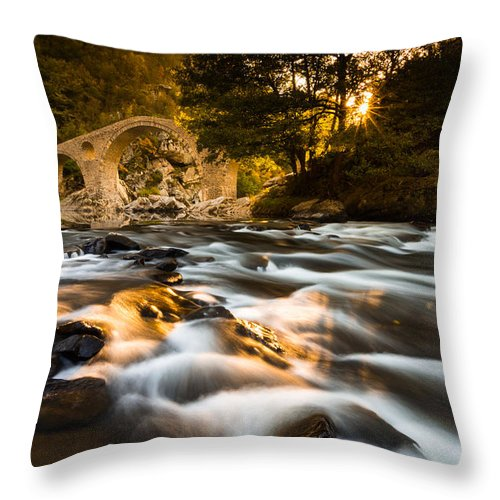 Devil Throw Pillow featuring the photograph Devil's Bridge Over The Arda River by Simeon Simeonov