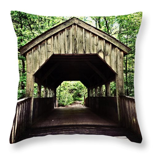 Covered Bridge Throw Pillow featuring the photograph Devil's Hopyard by Mike Martin