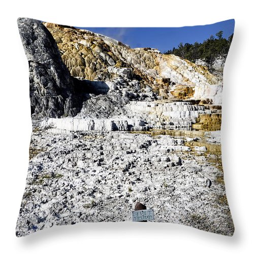 Yellowstone National Park Throw Pillow featuring the photograph Devils Thumb - Yellowstone by Jon Berghoff