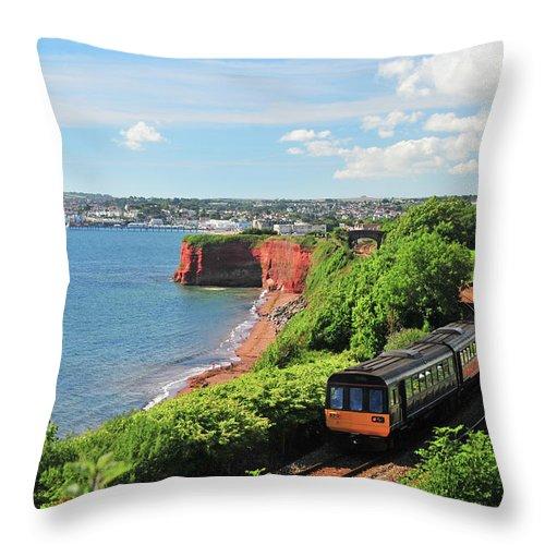 Passenger Train Throw Pillow featuring the photograph Devon Train by Maxian