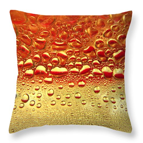 Top-artist Throw Pillow featuring the photograph Dew Drops The Original 2013 by Joyce Dickens