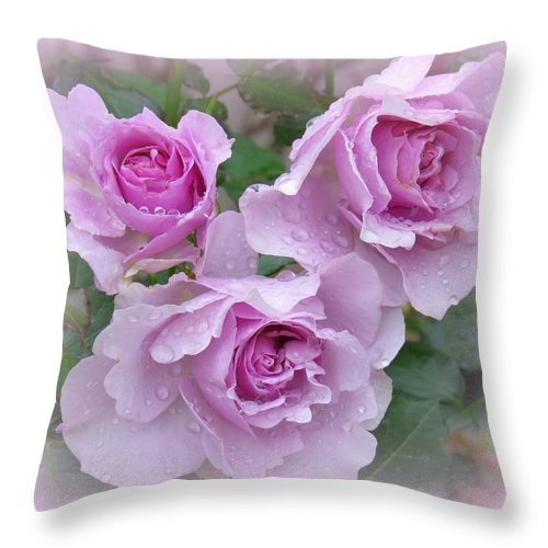 Rose Throw Pillow featuring the photograph Dew On The Roses by Phyllis Beiser