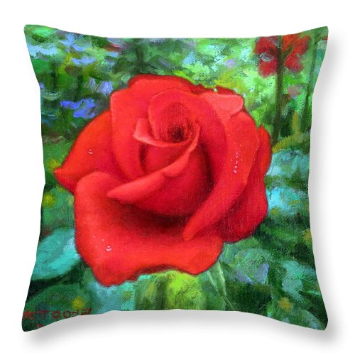Dew Throw Pillow featuring the painting Dew Soaked Rose by Yoo Choong Yeul