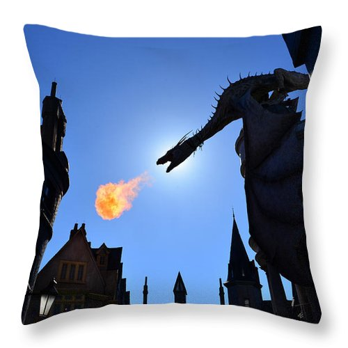 Diagon Alley Throw Pillow featuring the photograph Diagon Alley Dragon Fire by David Lee Thompson