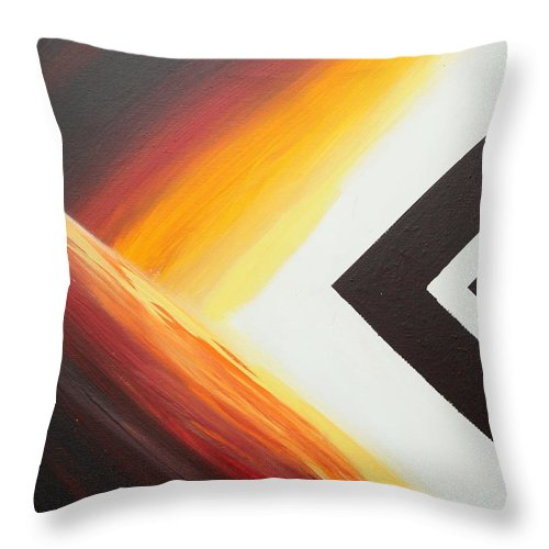 Abstract Throw Pillow featuring the painting Diamond Fire 1 by Debbie Levene