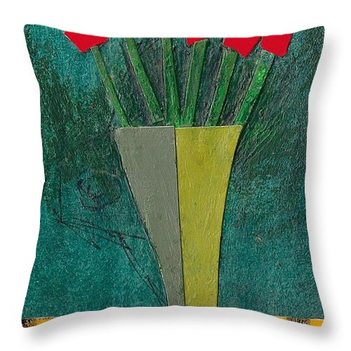 Flowers Throw Pillow featuring the painting Diamond Flowers by James Raynor