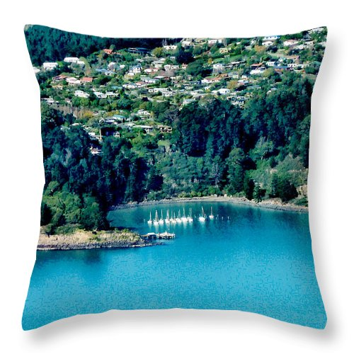 Banks Peninsula Throw Pillow featuring the photograph Diamond Harbour by Steve Taylor