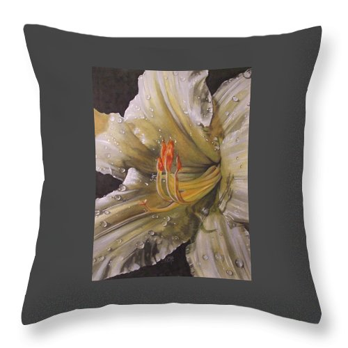 Daylily Throw Pillow featuring the painting Diamonds by Barbara Keith