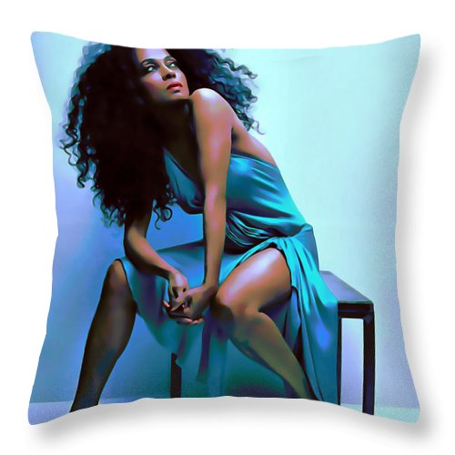 Diva Throw Pillow featuring the painting Diana Ross by Fli Art