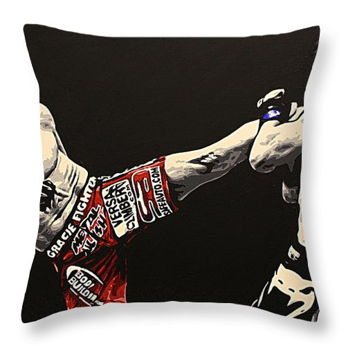 Mma Throw Pillow featuring the painting Diaz V Condit by Geo Thomson